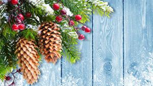 Fotos Feiertage Neujahr Bretter Ast Zapfen Vorlage Grußkarte
