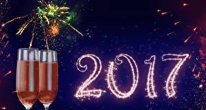 Pictures New year Holidays Fireworks Stemware
