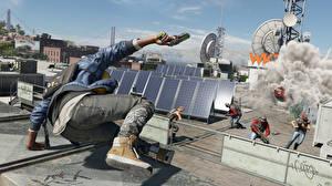 Bureaubladachtergronden Watch Dogs 2 Mannen Explosie Springt Rook Jeans videogames