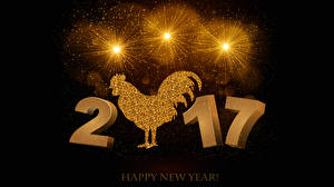 Pictures Christmas Rooster Fireworks 2017 Black background Gold color