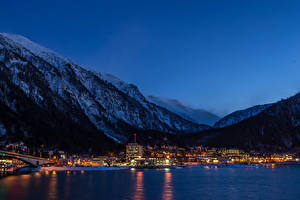 Pictures USA Mountains Building Rivers Alaska Night time Juneau Cities