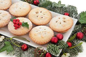 Fotos Neujahr Backware Beere Muffin Kugeln Ast Lebensmittel