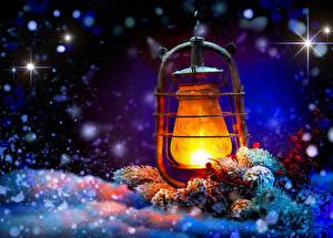 Fotos Neujahr Winter Schnee Ast Nacht Laterne