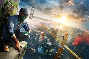 Bilder Watch Dogs 2 Mann Maske Pistolen Baseballcap Sitzend San Francisco Smartphone Spiele