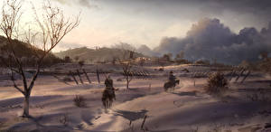 Wallpapers Assassin's Creed 3 Horses Winter Snow
