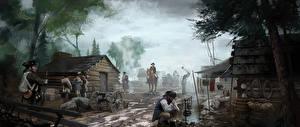 Hintergrundbilder Assassin's Creed 3 Soldat Gebäude Kanone Straße computerspiel