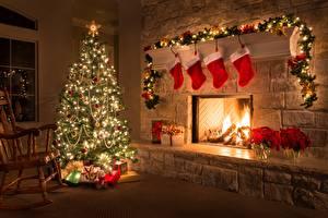 Photo Christmas Holidays Fireplace Socks Christmas tree Fairy lights