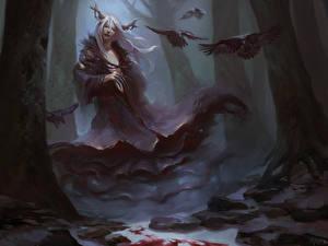 Hintergrundbilder Supernatural Wesen Krähen Gothic Fantasy Bäume Fantasy Mädchens