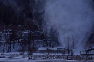 Bilder Vereinigte Staaten Winter Alaska Nebel Nacht Schnee Juneau