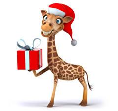 Fotos Neujahr Giraffe Weißer hintergrund Geschenke Mütze Lächeln