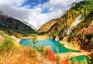 Sfondi desktop Valle del Jiuzhaigou Cina Parco Montagne Lago Autunno Foreste Paesaggio Natura