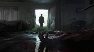 Bilder The Last of Us 2 Hand Blut Tür Silhouette Offene Tür Spiele