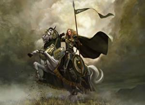 Bakgrunnsbilder Ringenes herre Kriger Malte Hest Rustning Kappe plagg Skjold (beskyttelse) Spyd The Riders of Rohan Fantasy Unge_kvinner