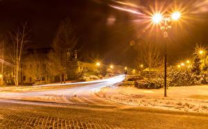 Wallpapers Czech Republic Houses Roads Winter Snow Night time Street lights Street Cities