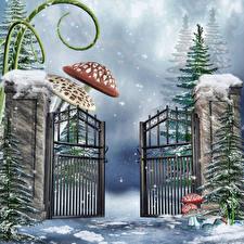 Fotos Winter Pilze Zaun Schnee Fichten 3D-Grafik
