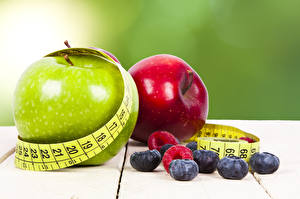Fotos Äpfel Heidelbeeren Fitness Maßband Lebensmittel