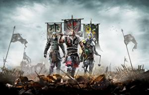 Bilder For Honor Krieger Drei 3 Helm Schwert Streitaxt Rüstung computerspiel Fantasy