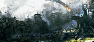 Bakgrundsbilder på skrivbordet Strid For Honor Krigare Borg  spel Fantasy