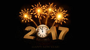 Pictures Christmas Fireworks Clock Black background 2017