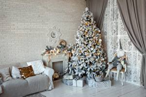 Picture Christmas Room Couch Christmas tree Gifts Made of bricks Wall