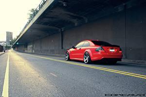 Bilder Straße Mercedes-Benz Rot Asphalt vossen CLK63 AMG Black Series Autos