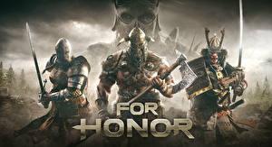 Bilder For Honor Krieger Drei 3 Rüstung Helm Schwert Streitaxt Text computerspiel Fantasy