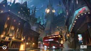 Desktop wallpapers Overwatch Bus Houses Street London Big Ben vdeo game Fantasy