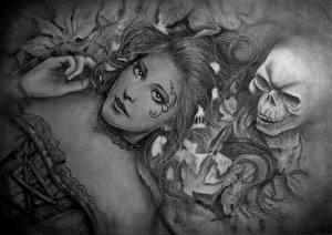 Bilder Gotische Schädel Gezeichnet Schwarzweiss Blick Fantasy Mädchens
