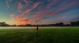 Hintergrundbilder Himmel Morgen Felder Golf Nebel Wolke Natur