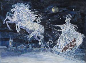 Hintergrundbilder Hauspferd Gezeichnet Winter Nacht Schlitten Junge The Snow Queen Fantasy Mädchens
