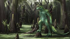 Wallpapers Monster Swamp Trees Fantasy