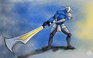 Hintergrundbilder DOTA 2 Sven Krieger Gezeichnet Rüstung Helm Schwert computerspiel Fantasy