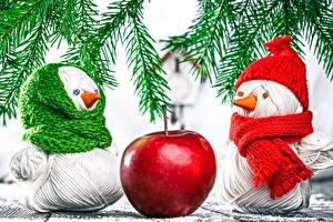Bilder Neujahr Äpfel Schneemänner Ast Schal