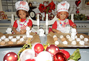 Wallpapers Christmas Parks Pastry Little girls Doll Cook Winter hat Balls 2 Grugapark Essen child