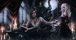 Picture Vampires Demons Candles Men Books Stemware Two Horns Throne Sit Fantasy Girls
