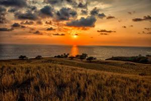 Wallpaper Scenery Sunrise and sunset Coast Sky USA Ocean Hawaii Clouds Horizon Kawaihae Nature