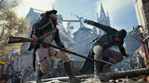 Wallpapers Assassin's Creed Rifles Soldiers Assassin's Creed Unity Sabre Fight Two Blood Games 3D_Graphics