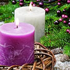 Hintergrundbilder Neujahr Kerzen Zwei Ast