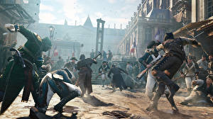 Sfondi desktop Assassin's Creed Soldati Persone Assassin's Creed Unity Litigano Sciabola Videogiochi Grafica_3D