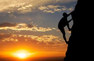 Hintergrundbilder Sonnenaufgänge und Sonnenuntergänge Bergsteigen Himmel Sonne Silhouette Bergsteiger Felsen Natur