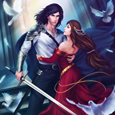 Images Illustrations to books Man 2 Swords Gown Hugs Lancelot, Guinevere Fantasy