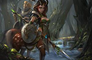 Wallpapers DOTA 2 Supernatural beings Shield Spear Horns Trees Hood headgear Enchantress vdeo game Girls