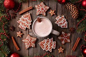 Bilder Neujahr Kekse Getränke Zimt Bretter Design Ast Weihnachtsbaum Tasse Lebensmittel