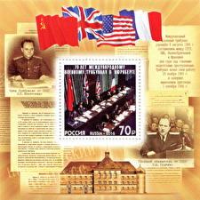 Sfondi desktop Stati uniti Inghilterra Francia Francobollo Bandiera URSS The 70th Anniversary of the International Nuremberg Military Tribunals
