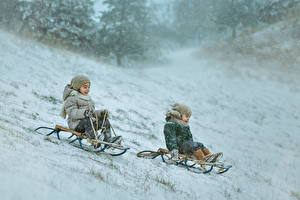 Images Winter Sled Two Snow Motion Happy Children