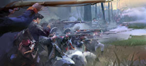 Wallpapers Assassin's Creed 3 Soldiers Rifle Firing