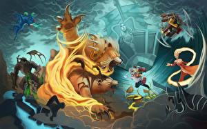 Picture DOTA 2 Clockwerk Warriors Battles Gyrocopter DOTA 2 Kunkka Lina Lone Druid Bears Nyx Assassin Monster Rubick Sorcery vdeo game Fantasy
