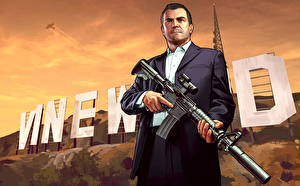 Picture GTA 5 Man Assault rifle Michael in Vinewood vdeo game
