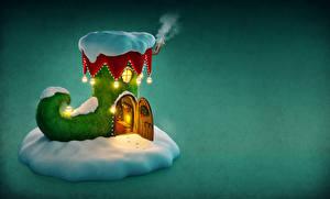 Fotos Neujahr Gebäude Farbigen hintergrund Stiefel Schnee Tür