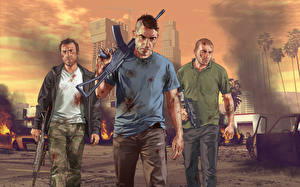 Wallpapers GTA 5 Man Assault rifle Three 3 vdeo game